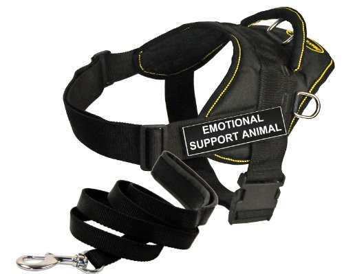 Dean and Tyler Bundle - One ''DT Fun Works'' Harness, Emotional Support Animal, Yellow Trim, XXS + One ''Padded Puppy'' Leash, 6 FT Stainless Snap - Black by Dean & Tyler