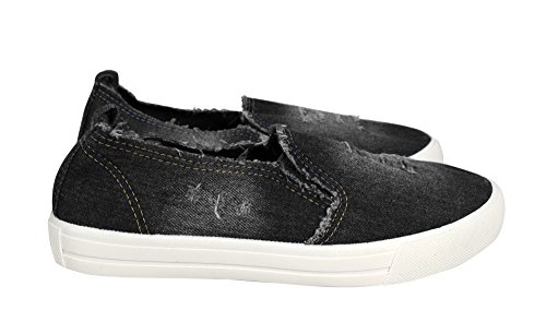 Peach Couture Womens Fashion Distressed Denim Casual Shoes Slip on Sneakers Black Denim