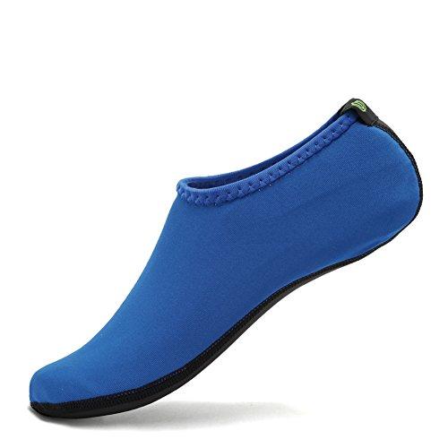CIOR 3. Verbesserte Version Durable Sohle Barfuß Wasser Haut Schuhe Aqua Socken für Beach Pool Sand Schwimmen Surf Yoga Wassergymnastik Blau