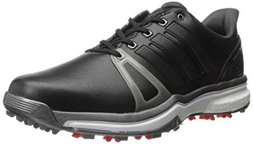 adidas Mens Adipower Boost 2 Golf Cleated Core Black/Dark Silver Metallics05/Red