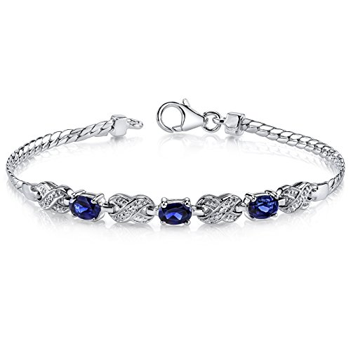 (Created Sapphire 3 Stone Bracelet Sterling Silver Oval Shape)