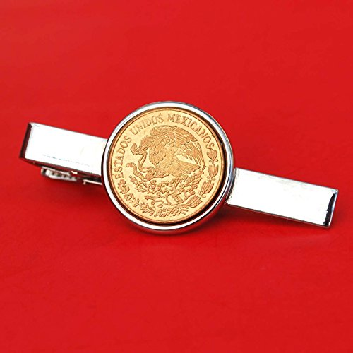1973 Mexico 5 Cent Centavos BU Uncirculated Coin Silver Plated Tie Clip Bar Pin NEW - National Arms Eagle on Cactus Facing Left with Snake in Beak above Wreath