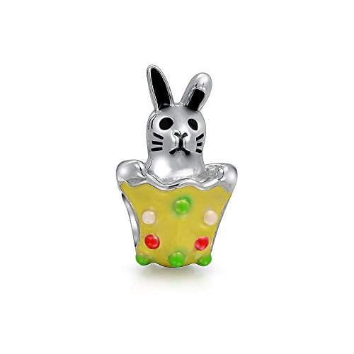 Easter Bunny Egg Basket Rabbit Multi Color Charm Bead For Women For Teen 925 Sterling Silver Fits European Bracelet