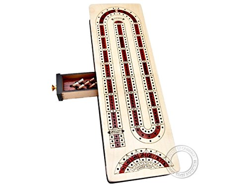 Shape Cribbage Board - House of Cribbage - Continuous Cribbage Board Alphabet e Shape inlaid in Maple Wood / Bloodwood : Size - 12.5