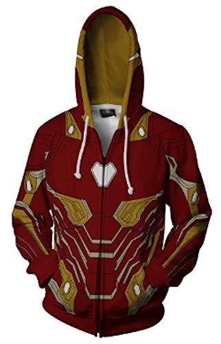 AiK Superhero Halloween Cosplay Costume Mens Sweat Shirt Hoodie Jacket with Zipper/Cotton/Unisex/Womens (Red, -