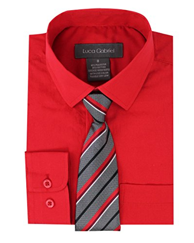 Luca Gabriel Toddler Boy's Long Sleeve Formal Button Down Dress Shirt & Tie Set - Red -