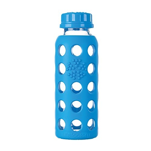 Lifefactory Glass - Lifefactory 9-Ounce BPA-Free Glass Baby Bottle with Flat Cap and Protective Silicone Sleeve, Ocean