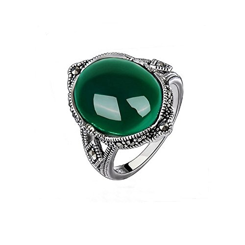 Jade Angel 925 Silver with Oval Green CZ Vintage Marcasite Ring - Green Marcasite Ring
