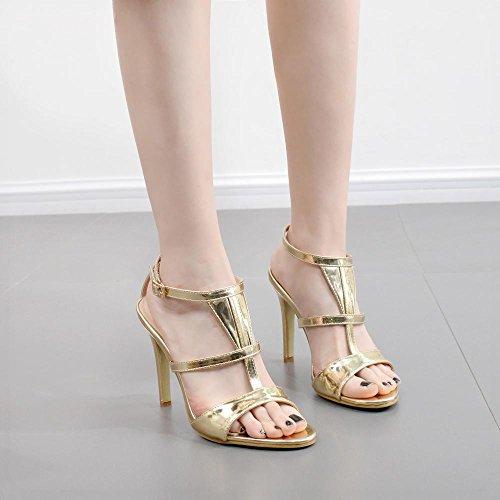 ZHZNVX La Nueva Mujer Zapatos, T-Correa Sandalias Sexy Fina con Corbata ranurada Boca de Pescado los Zapatos de Tacón Alto, Oro 39