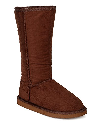 Glaze Women Suede Round Toe Mid-Calf Fur Inline Winter Boot BI06 - Brown (Size: 7.5)