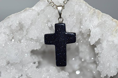 Nature's Enlightenment Cross Blue Goldstone Crystal Pendant- Reiki, Healing, Meditation, Crystal Grid, Pagan, Wicca, Spells, Protection