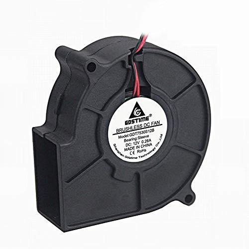 (GDSTIME 75mm x 30mm 7530 DC 12 Volt Brushless Turbo Blower Cooling Fan)