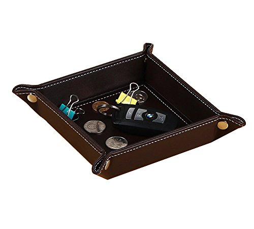 YAPISHI Pu Leather Valet Tray Catchall Jewelry Tray Bedside Tray Key Phone Coin Change Wallet Watches and Candy Holder Stroage Tray Box (0.25 Lb Package)
