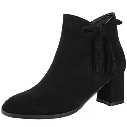 COOLCEPT Mujer Moda Tacon Ancho Fringes Botas with Cremallera 24 Black