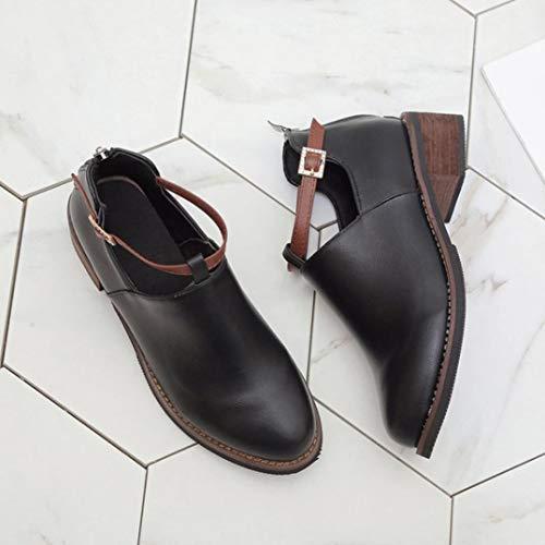 Freizeitschuhe Damen Round OYSOHE Stiefeletten Klassische Martin Stiefel Stiefel Toe Schwarz pO88a4q