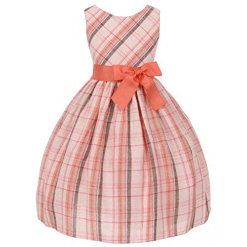 Little Girls Classic Tartan Plain Cotton Dress Lovely Bow Coral - Size 4 -
