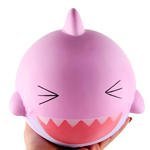 OVERMAL 15cm Pink Lovely Happy Shark Scented Squishy Slow Rising Squeeze Toys (Minions Happy Easter)