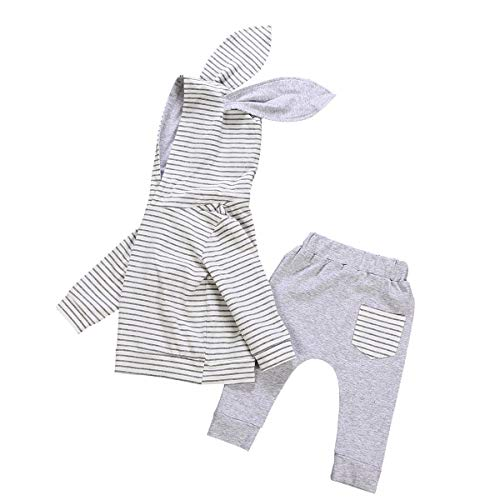 Baby Girl Clothes Outfit Hoodie Sweatshirt Long Sleeve Rabbit Hood Top Pants Outfits Set (Baby Girl Clothes Outfit Hoodie Grey,18-24 Months)