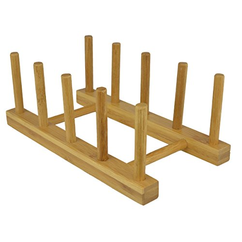Eco Friendly Bamboo Wood Plates/Pots/Pans/Cups Dish Drying Rack Drainer Storage Organizer - MyGift ()