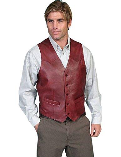 Scully Lambskin button front vest,503-179-50L-B/L Tan Leather Vest