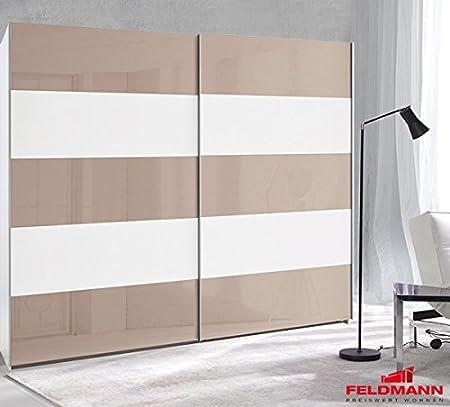 Arte M – Armario ropero de Puertas correderas 224051 Blanco/Gris Cristal 222 cm: Amazon.es: Hogar