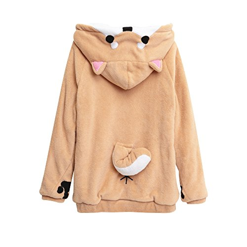 Plush Dog Coat (Unisex Anime Cosplay Hoody Cute Corgi Plush Adult Pajamas Coral Velvet Sweatshirt Shiba Inu Sleepwear (M))