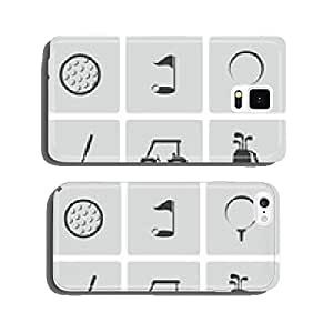 Vector black golf icons set cell phone cover case Samsung S6