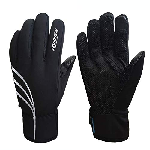 (Waterproof Winter Gloves for Men and Women, Windproof Touchscreen Thermal Warm Gloves Mountain Made Outdoor Gloves for Running, Cycling (Black-Silver, S))
