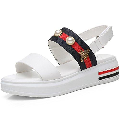 Scarpe Sandali Upper Mid Pu Bianche Donna Da Toe Summer Webbing Heel Outer Wear Open xHaPwF4nqa