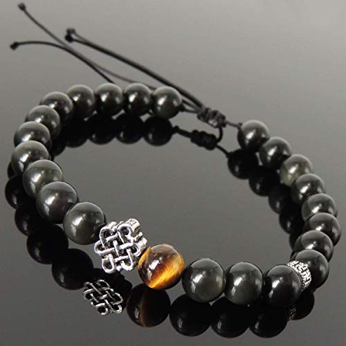 (Healing Gemstone Jewelry Handmade Braided Bracelet with 8mm Rainbow Black Obsidian, Grade AAA Brown Tiger Eye, Adjustable Drawstring, S925 Sterling Silver Lucky Knot Charm, Buddhism Spacer Bead )