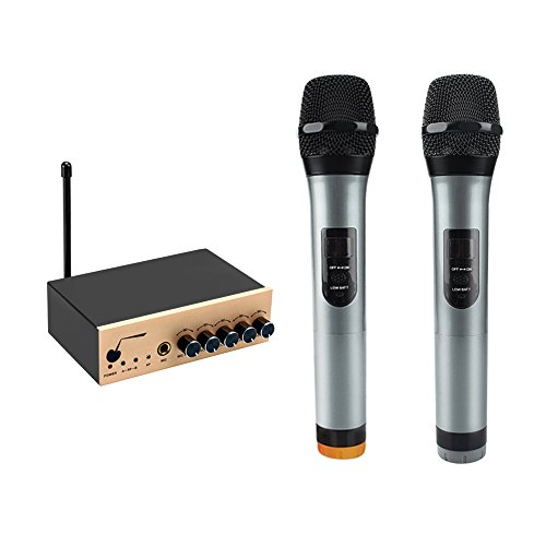 ARCHEER VHF Bluetooth Wireless Microphone System Dual Channel - Small Channel Mixer