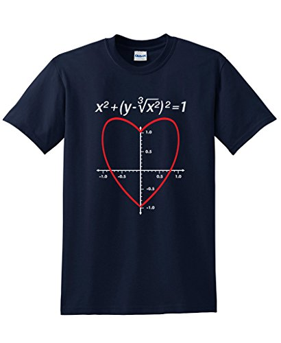 Love Heart Equation Math Graphic Funny Valentine's Day T Shirt S Navy