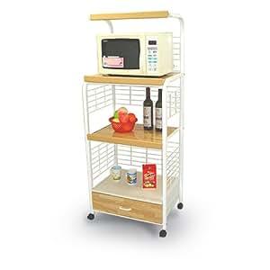Amazon.com: White Kitchen Microwave Cart with Power Strip