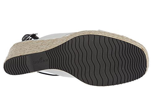 donna in pelle bianco Hogan zeppe sandali q7wIEZcgtZ