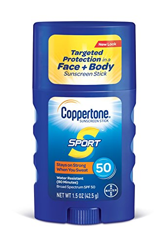 - Coppertone SPORT Sunscreen Stick Broad Spectrum SPF 50 (1.5 Ounce) (Packaging may vary)
