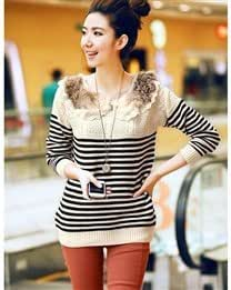 Slim Lace Stripe Round Collar Long Sleeve Women Sweater