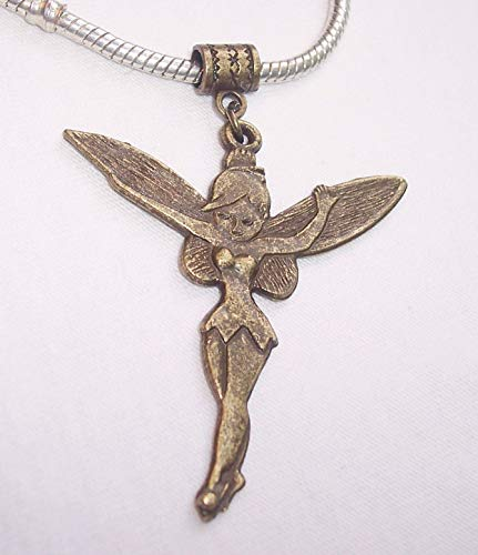 Tinkerbell Dangle - Oversized Fairy Tinkerbell Bronze Tone Brown Dangle Charm for European Bracelets id-2494