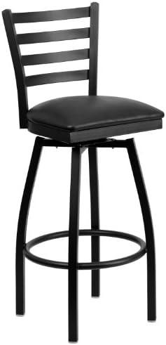 Flash Furniture HERCULES Series Black Ladder Back Swivel Metal Barstool – Black Vinyl Seat
