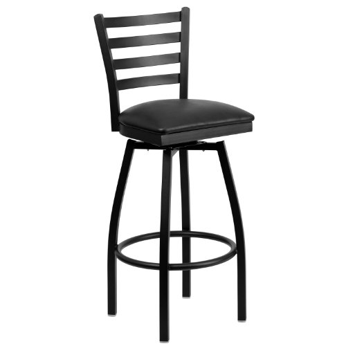 Flash Furniture HERCULES Series Black Ladder Back Swivel Metal Barstool – Black Vinyl Seat