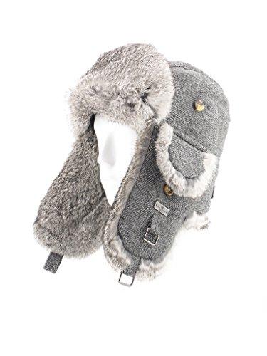 FUR WINTER Wool Blend Herringbone Tweed Rabbit Fur Aviator Outdoor Trapper Trooper Pilot Ski Hat