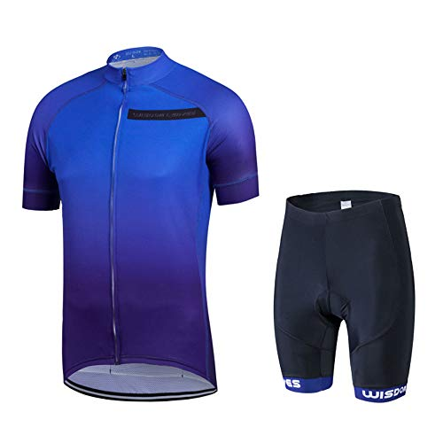 - Men's Cycling Jersey Set Short Sleeve Road Bike Clothing Quick-Dry Bicycle Shirt Outdoor Riding Sportswear Blue