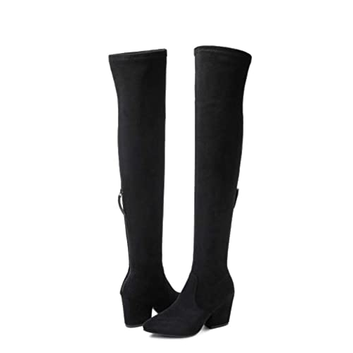 e732df6805312 NNG Women Boots Winter Over Knee Long Boots Fashion Boots Heels Autumn  Quality Suede Comfort Square Heels US Size