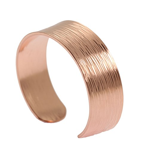 Copper Cuff Bracelet Jewelry - Chased Copper Cuff Bracelet by John S Brana Handmade Jewelry 100% Solid Uncoated Copper (6.5 Inches)