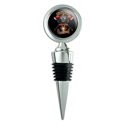Wine Bottle Fireman (Firefighter Skull First In Last Out Fireman Wine Bottle Stopper)