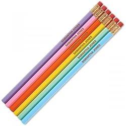 Pastel Personalized Pencils - Set of 12, Engraved Name, Hardwood #2 School Pencils, Kid's Gift