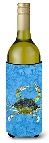 Caroline's Treasures 8656LITERK Blue Crab on Blue Wine Bottle Beverage Insulator Beverage Insulator Hugger, Wine Bottle, multicolor