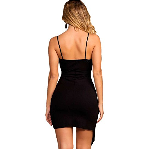 Ajustado De Vestidos Irregular Vestido V Negro Moda Cuello Sin Vestidos Mujer Elegantes Fit Hipster Cortos Slim Coctel Fiesta Mangas Vintage Asimetricas 5E676xq
