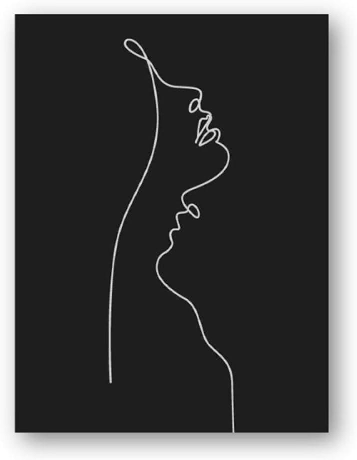Cuadro abstracto para mujer sin marca, diseño de rostro negro y blanco, arte de pared minimalista, póster moderno, decoración de pared, 45 x 65 cm, sin marco