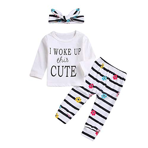 3Pcs Toddler Infant Baby Girl Clothes Outfits Set Long Sleeve T-Shirt Tops Flowers Pants with Headband Bodysuit -