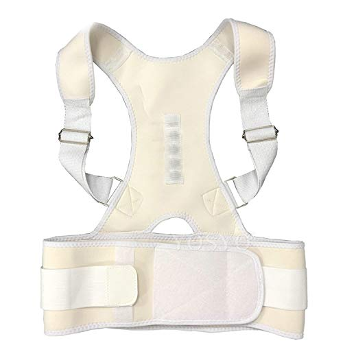 Posture Corrector Magnetic Therapy Posture Corrector Brace Adjustable Shoulder Back Brace Support Belt NO Slouching,White,XXL